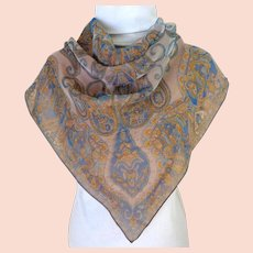 Double Layer Silk and Chiffon Scarf.  Gorgeous.  Old Gold and Blue Paisley.  Mint Condition.
