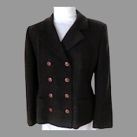 JONES NEW YORK Double Breasted Female Power Executive Blazer.  Chocolate Brown.  Size 14.  Fine Wool.  As New Condition.