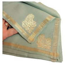 Totally Exquisite Hand Woven Pure Silk Scarf.  Indian.  As New.  Never Used.  Original Folds.