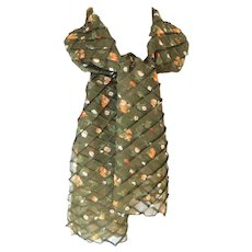 Permanently Pleated Diagonally Rectangular Scarf.  Olive Green with florals.  Unusual.  Wonderful.  As New Condition.