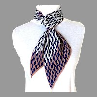 Vintage VERA Signed Bias Cut Oblong Scarf.  Navy and White.  As New Condition.