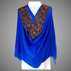 Blue Pashmina and Oblong Bias Cut Silk Scarf.  Beautiful Combination.  As New Conditions.