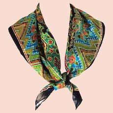 Incredible BILL BLASS Designer Scarf.  Silk Chiffon and Silk Applique. Navy & Multi-color.   As New Condition.