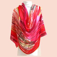 COCOON HOUSE 100% Silk  Long Scarf.  Flames and White.  Wonderful.  As New Condition.