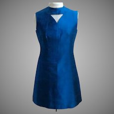 Elegant Custom Made A-Line Dress.  Fully Lined.  Blue Silk.  Special Detailing.  As New Condition.