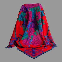 Liz Clairborne Designer Scarf.  100% Silk.  Red, royal purple, gold.  As New Condition.