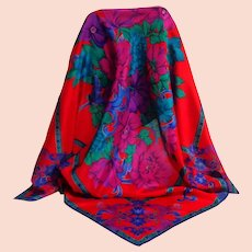Liz Clairborne Designer Scarf.  100% Silk.  Red, royal purple, gold.  As New Condition.