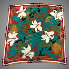 Liz Clairborne Designer Scarf.  100% Silk.  Spectacular Floral Lily Graphics.  As New Condition.