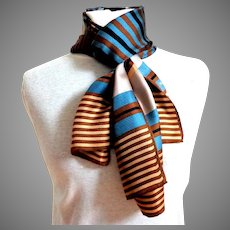 ECHO Designer 100% Silk Rectangular Scarf.  Brown, blue, black stripes.  As New Condition.