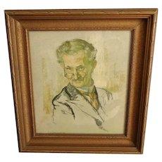 Nicholas de Grandmaison.  Russian Born Canadian Artist (1892-1978) Pastel Portrait. Framed.