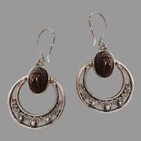 Egyptian Scarab Silvertone Earrings.