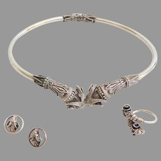 Greek Crete Sterling Hinged Torque Necklace with Matching Earrings and Ring.  Rams Heads.  Perfect Condition.