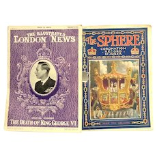 Illustrated London News and The Sphere Coronation Record Number English Magazines.  1952 and 1953.