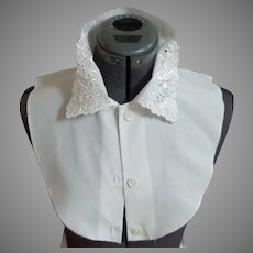 Vintage 1960's Dickey Dickie.  Embroidered Collar.  Rayon & Polyester.  White. As New Condition.