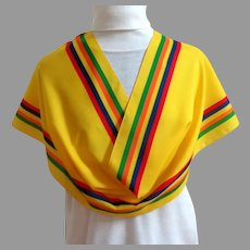 Italian Yellow Striped Scarf.  Primary Colors.  Polyester. Washable.  As New Condition.