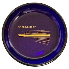 French Line SS France Cobalt Dish.  Ocean Liner Memorabilia.  Perfect Condition.