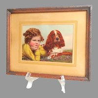 Framed Matted Lithograph of Young Girl with her Spaniel Dog.  Charming.