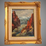 American Artist Dick Williams.  Oil on Canvas Painting.  Gold Framed.  Dramatic Landscape.