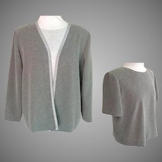 Long Sleeved Jacket and Matching Short Sleeved Top.  2 Piece Outfit. Gray and Silver.  Elegant Custom Made.  Perfect Condition.