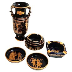 Greek Cobalt and Gold Collection: Vase, 2 Small Dishes, 2 Ashtrays.  Gorgeous.  Perfect Condition.
