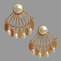 Faux Pearl and Gold Tone Dangle, Tremblant Earrings.  Reverse Fan Shape.  Striking.  Mint Condition.