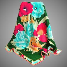 Spectacular 100% Silk Scarf.  Floral Bouquet.  Gorgeous.
