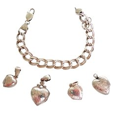 Sterling Double Link Charm Bracelet with 4 Puffy Heart Lockets.  Wonderful. Mint Condition.