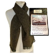 Irish Donegal Tweed Handwoven Scarf.  Brown.  Signed by the Weaver.