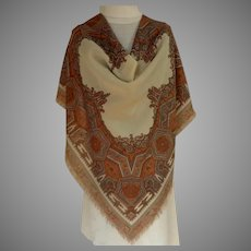 Pashmina.  Large Scarf.  Beautiful Graphics.  Browns & Cream.  As New Condition.
