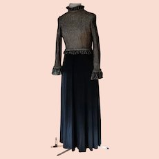 1970's Holt Renfrew Evening Gown.  Black and Gold.  Quality. Elegant.  As New Condition.