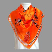 Souvenir of Australia Silk Scarf.  Australian Aboriginals.  Brilliant Pumpkin Color.  Totally Gorgeous.  Mint Condition.