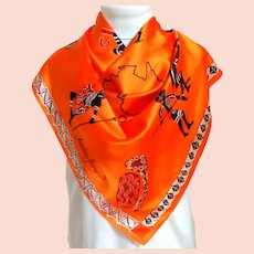Souvenir of Australia Silk Scarf.  Australian Aboriginals.  Brilliant Pumpkin Color.  Totally Gorgeous.  Mint Condition.