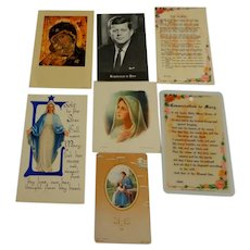 6 Holy Cards.  Nurse Prayer.  President Kennedy. Vladimir Mother of God.  More.  Perfect Condition.