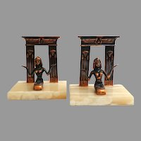 Egyptian Onyx and Bronze Bookends.  As New Condition.