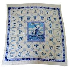 Tea Table Cloth.  Souvenir of Holland.  Dutch Tiles.  Windmills. Blues. Mint Condition.