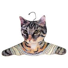 Vintage Clothes Hanger.  Cat  Lithograph.  Signed.   Children's.  Large.  Adorable.