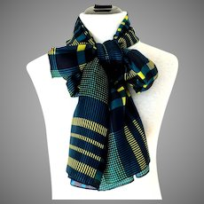 "TRISTAN 100% Silk Scarf / Shawl.  Huge.  44"" x 70"".  Gorgeous.  Greens, Navy, Yellow. Mint Condition."