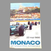 Original Poster.  Monaco 24th Grand Prix.  1966.  #510 of Limited Edition. Fine Condition.