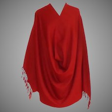 100% Wool Pashmina / Blanket Scarf.   Large.  Dark Terracotta.  Super Quality.  As New Condition.
