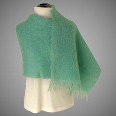 HEATHER DOWN Scotland Mohair Throw / Blanket Scarf / Pashmina.  Mint Green.  Luxurious Quality.  As New Condition.