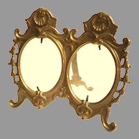 Victorian Double Photograph / Picture Frame.  Figured Brass.  Easel. Large. Oval Glass.