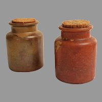 Pair Large Alsace-Lorraine / French Stoneware Mustard Jars / Pots.  Large Corks.  Mint Condition.