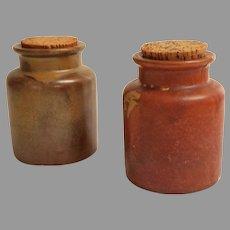 Pair Large Alsace-Lorraine / French Stoneware Mustard Jars / Pots.  Large Corks.  Mint Condition.