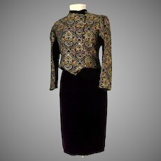 Royal Purple Silk Velvet and Brocade 2 Piece Suit.  Ultra Gorgeous.  Mint Condition.