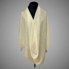 Pashmina.  70% Cashmere.  30% Silk.  White on White Woven Designs.  Super Gorgeous.  As New Condition.