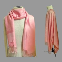 Pashmina.  70% Cashmere.  30% Silk.  Pale Rose / Pink Woven Designs.  Super Gorgeous.  As New Condition.