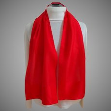 Italian Red Silk long Rectangular Scarf.  As New Condition.