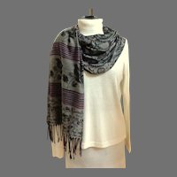 Pashmina.  Gray, Wine and Black.  Elegant.  As New Condition.