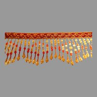 """1 Yd + 14""""  Vintage Large Beaded Fringe. Gold, Terracotta, and Yellow Colors."""