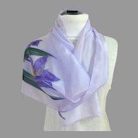 Exquisite Pale Lavender Batik Designed 100% Silk Scarf.  As New Condition.